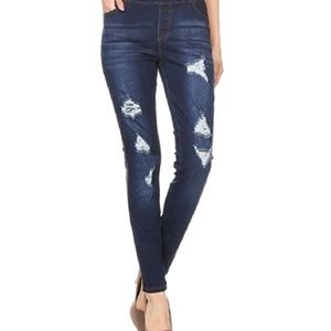 JVINI Stretch Skinny Ripped Distressed Pants
